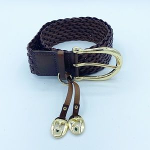 Michael Kors Brown & Gold Genuine Leather Belt, S